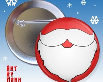 Christmas Mustache and Beard Red holiday 1.25 inch - Pinback Button