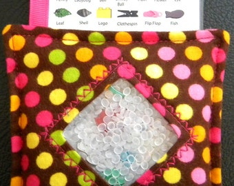 I Spy Bag - Mini with SEWN Word List and Detachable PICTURE LIST- Dandy Dots Brown