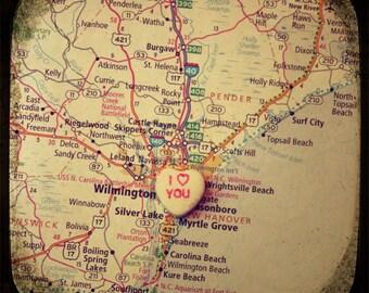 i love you wilmington NC candy heart map art photo print