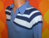 vintage 70s sweater polo knit blue stripe geometric pattern soft collared Medium preppy jantzen 80s