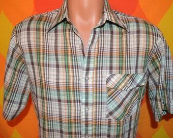 vintage 70s shirt plaid short sleeve button down preppy western brown Medium wedgefield 80s