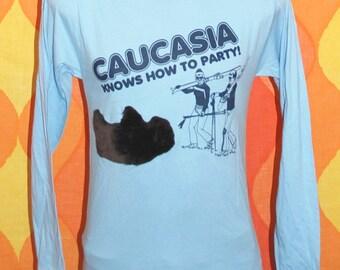 vintage vantage tee shirt caucasia party FURRY 3-D BUFFALO long sleeve t-shirt Small