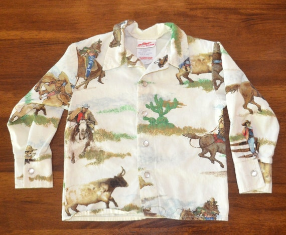 Vintage 70s Western Shirt Cowboy Print Flannel Kids Baby Youth