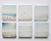 Pale blue, grey and white beaches set of 6 photo blocks-beach decor, beach wall art, ocean, seagulls, typography, sunshine, summer, soothing - SusannahTucker