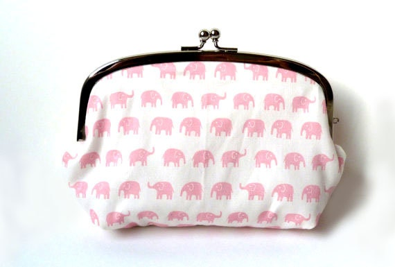 Elephant Cosmetic Bag - Pink and White Elephant Fabric Makeup Bag with Pink Polka Dot Lining