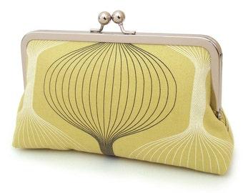 SALE: Clutch bag, silk-lined purse, lime green, chartreuse, retro print, bridesmaid gift, LUNA