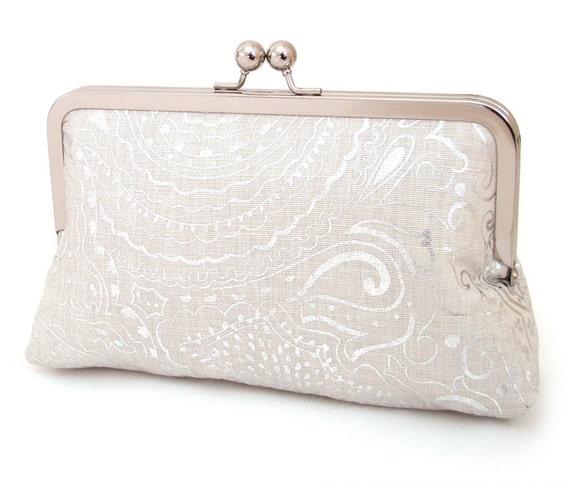 Silver shimmer clutch : Wedding bridal purse