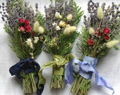 Winter Wedding Bridesmaid Bouquet of  English Lavender, Woodland Cedar, Roses and Dried Grasses and Flowers