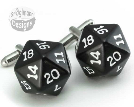 Cufflinks - d20 Dice Dungeons & Dragons, Magic the Gathering
