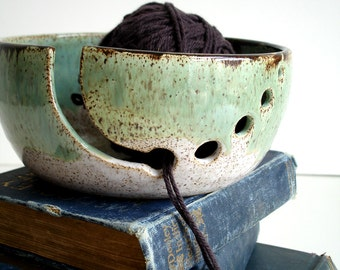 White Green Wheel Thrown Yarn Bowl - MADE TO ORDER