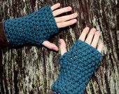 fingerless gloves hand warmer Vegan Teal Blue
