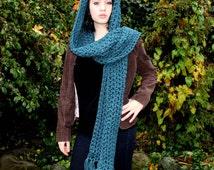 The KISS open end fringe long cowl hood scarf Vegan Teal Blue