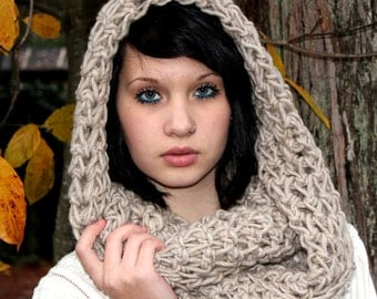 The Favorite Cowl neck Scarf WOOL warmer natural bone white