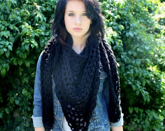 My Love chunky lace cowl scarf open end Vegan Boho Black