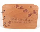 Wooden Wedding Guest Book - Leafy Vine Design