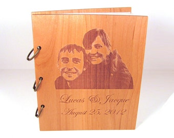 Wooden Wedding Guest Book Photo Album LARGE SIZE - Engraved With Your Photo