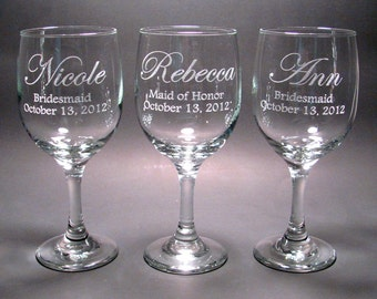 Personalized Bridal Party Wine Glasses - SET OF 4