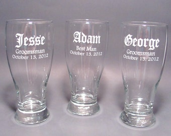 Personalized Wedding Party Pilsner Glasses - SET OF 6