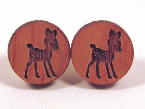 Deer Wooden Post Earring Studs