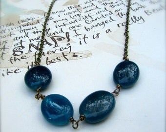 Blue Stone Beaded Necklace, Everyday Necklace, Simple Jewelry