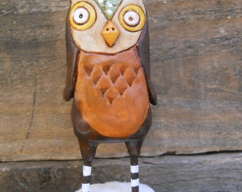 Tall Owl with Green and White winter Hat Winter Folk Art Decoration