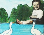 RESERVED - Collage - Mixed Media - Little Boys and Big White Ducks - Original Mixed Media Collage in Greens and Aqua