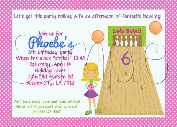 Custom Printable Bowling Birthday Party Invitation