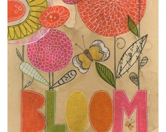bloom  - 11 x14 GICLEE PRINT, floral, botanical, typographic, collage, Susan Black