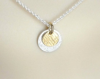 Gold and silver disk necklace, Two tone necklace, vermeil and sterling silver necklace, circle necklace