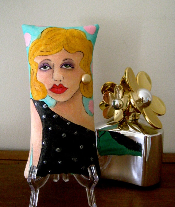 SULTRY SIREN Skinni Mini Hand Painted PILLOW with Quote  (Goddesses do not walk ... they glide.)