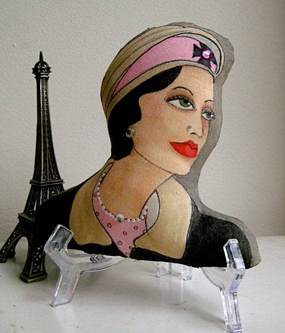 PARIS COCO CHANEL Shaped Hand Painted Pillow/ Decorative Pillow/ Gift For Fashionista/ Under 40 Dollars