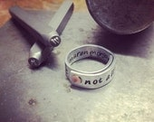 Riveted ring: your quote, lyric or saying - aluminum ring with copper or brass rivet