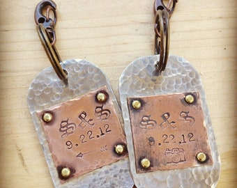Pair of custom dog tag keychains, personalized in silver and copper
