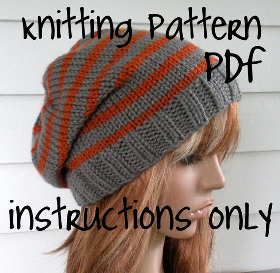 Easy Beanie Hat Knitting Pattern Free : Knit Slouchy Beanie PATTERN Knit Hat Pattern Chunky Easy