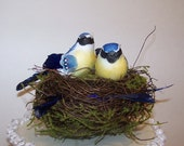 Wedding Cake Topper with Bluebirds-Rustic Wedding Topper