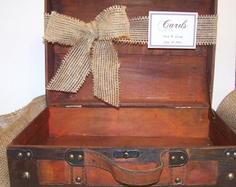 Rustic Wedding Card Box-Wood Grain Suitcase-Burlap Ribbon