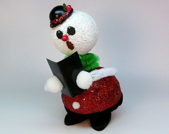Singing snowman Christmas decoration holidays remake from old German candy container bobblehead