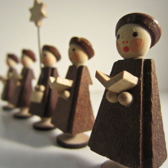 Singing Carolers Candleholders Figurines Vintage By: Vintage Wood Christmas Erzgebirge Carolers Singing By