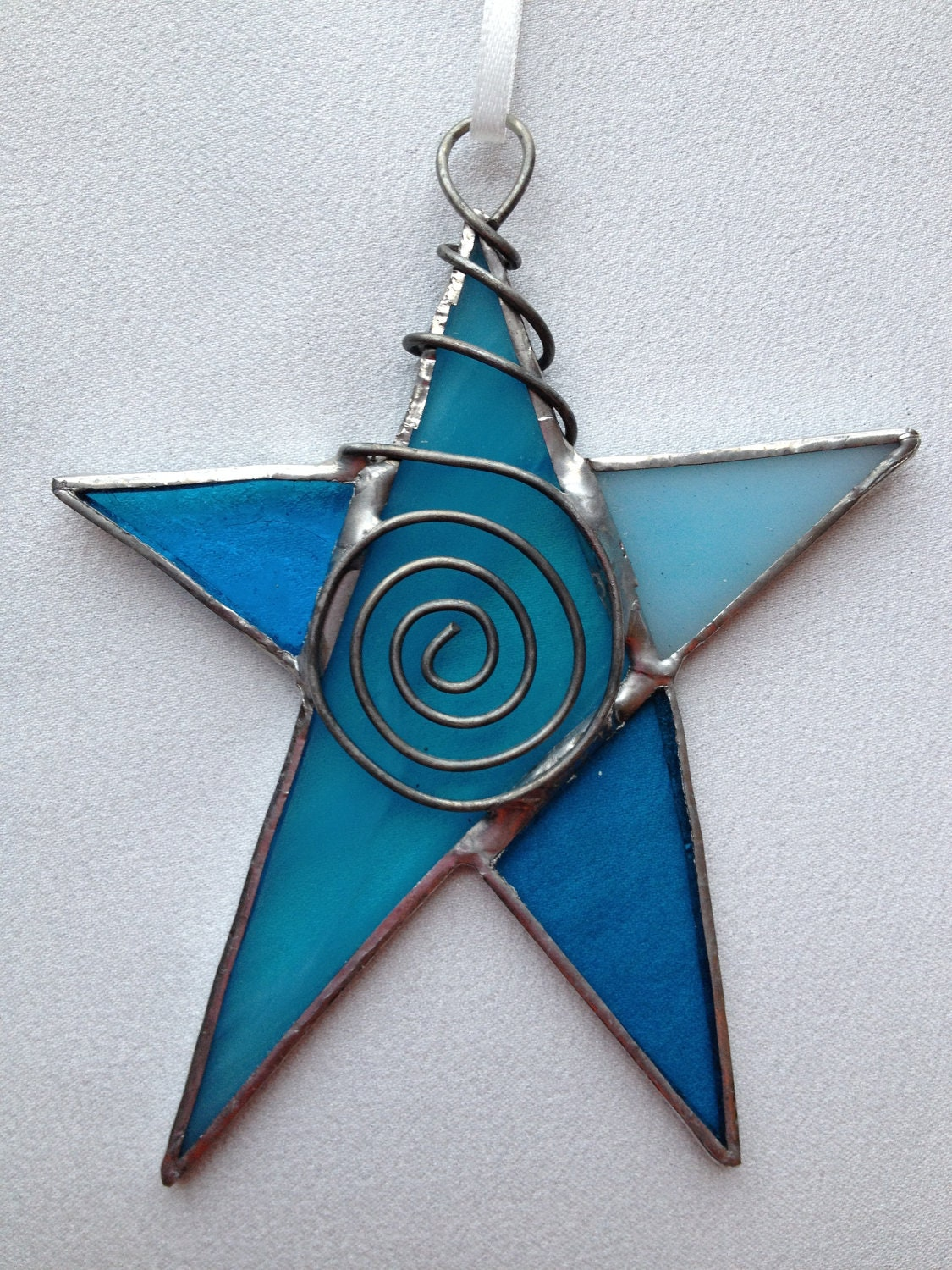 Stained glass ornament aqua blue star with wire