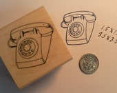 P21 Vintage phone rubber stamp WM 1.5x1.5 inches