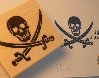 """P44 Pirate insignia rubber stamp WM 1.75x1.5"""""""