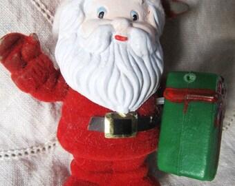 Vintage Red Flocked Santa Christmas Ornament Hard Plastic