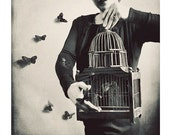 Surreal Photography, Fine Art Portrait, The Butterfly Releaser, Whimsical Print, Dreamy Grey, Black and White Photo