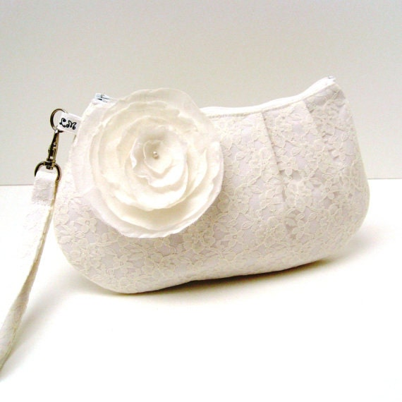 Bridal Clutch Purse Pleated Wristlet - Ivory Cream Lace with detachable Flower Brooch