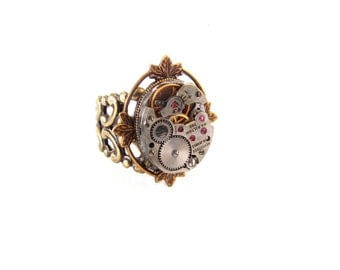 Steampunk Ring - Vintage Ruby Jeweled Watch Movement - Brass Vine Leaves Setting - Adjustable Filigree