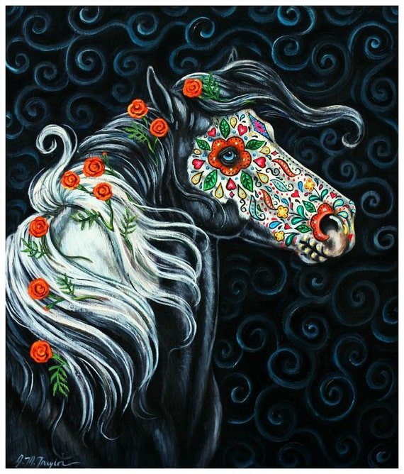 sugar skull horse day of the dead color art by