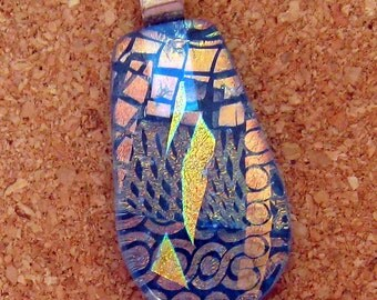 Dichroic Glass Pendant - Blue Fused Glass Pendant - Fused Glass  Jewelry - Dichroic Pendant - Dichroic Necklace