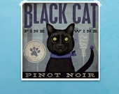 Black Cat Wine Company pinot noir artwork graphic illustration signed print by stephen fowler