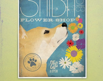 Shiba Inu Flower company original graphic illustration giclee archival signed artist's print by Stephen Fowler