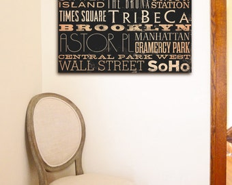 New York Streets typography graphic art on canvas 14 x 14 by stephen fowler ready to hang